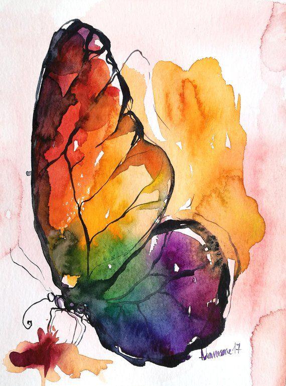 Rainbow Butterfly Original Watercolor Painting Wall Art For