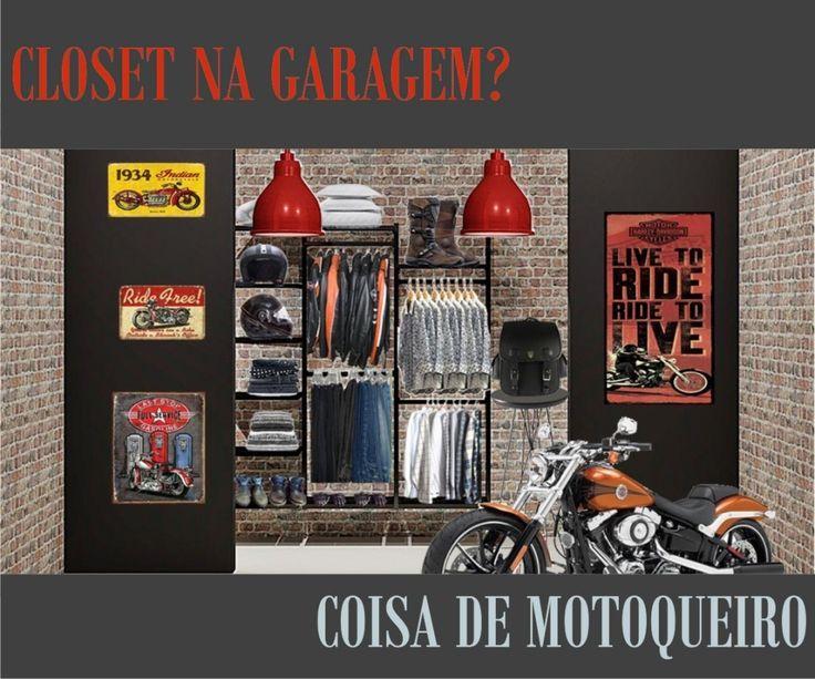 Ferramentas, jaquetas, mochilas, botas, luvas e acessórios. Agora tudo junto e muito bem entrosado. Assim é o closet de motoqueiros, que faz de sua garagem o espaço mais interessante de sua casa!  #harleydavidson #motorcycle #motorbike #SerraToco #bikelife  #motocross #vintage #india  #moto #motoqueiros #yamaha #honda #suzuki #bmw #racing #motos #garage #mototour #decor #design #motoclubs #motodax #bikeconfection  #kawasaki #motogp #gp #curitiba #riodejaneiro  #sp  #decoraçãodeinteriores