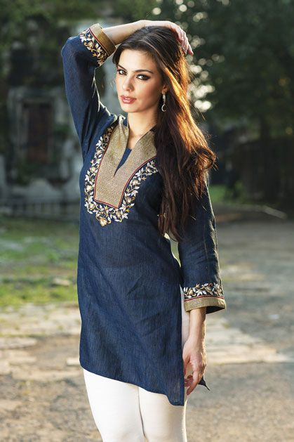 W13-07 - Linen kurta with resham work. Leggings as seen is not included