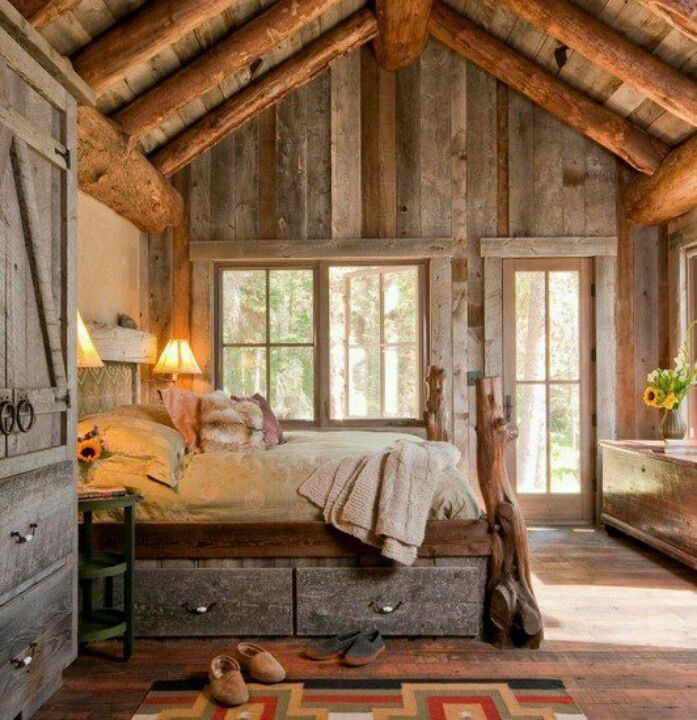 Cozy Country Bedroom with Gorgeous Wood Everywhere