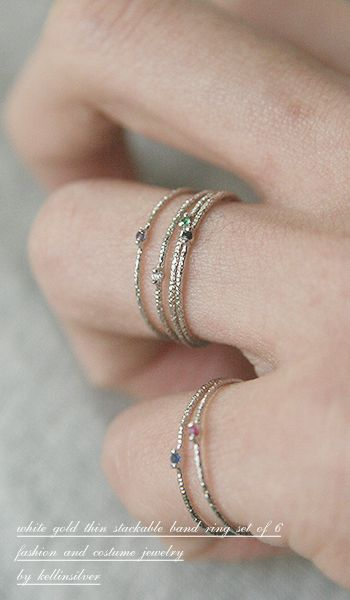 White Gold Thin Stack Rings Set of 6 from Kellinsilver.com – very thin ring, thin band ring, thin stackable rings
