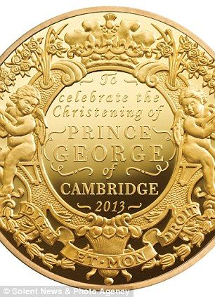 The £50,000 coin, which is part of the first ever set of British coins to commemorate a royal christening