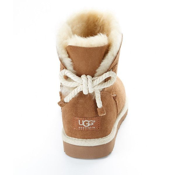 UGG Australia Selene Tie Back Booties (680 NOK) ❤ liked on Polyvore featuring shoes, boots, ankle booties, uggs, women, ugg australia boots, ugg australia, sheeps boots, sheepskin boots and sheepskin booties