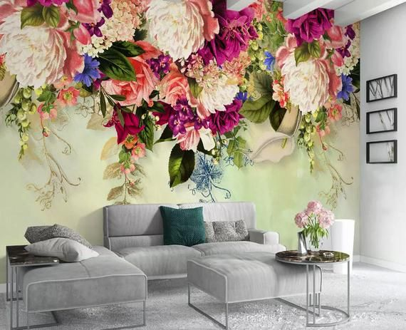 Floral Wallpaper Vintage Pink Flower Wall Mural Peony Blossom Etsy Bedroom Wallpaper Murals Floral Wallpaper Wallpaper Decor