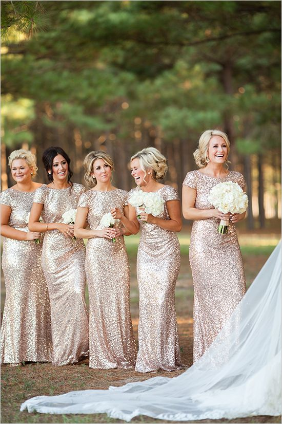 sparkly gold bridesmaids #goldbridesmaiddresses @weddingchicks
