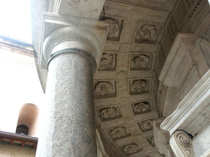 Tempietto Bramante Detail | Views of the peristyle, coffering, and outer wall of the church proper