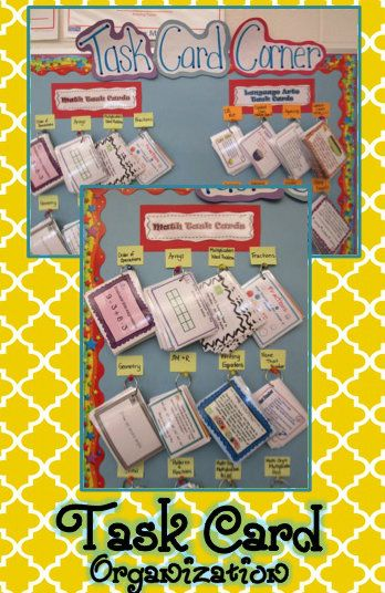 Task Card Organization and Management: This work better than my current bins:) I think I can use  a poster board to do this.