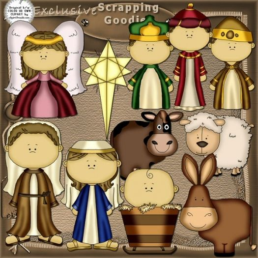 Nativity Clip art - These would be good for those nativity blocks for kids.