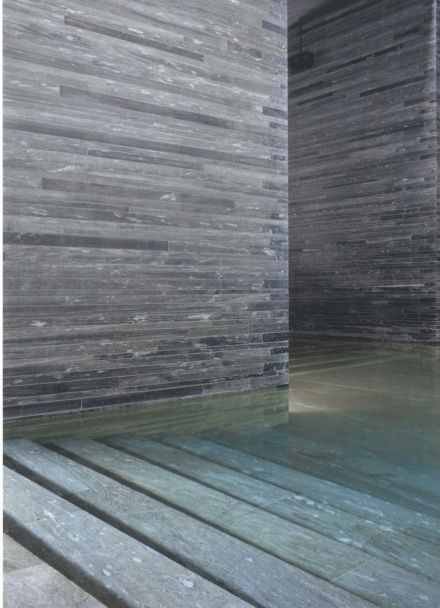 Stairs down into the central bath, Therme Vals by Peter Zumthor _