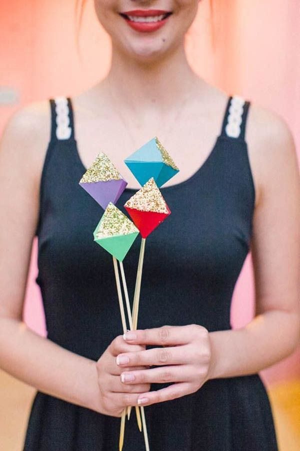 Possible option for flower girl. DIY geometric paper and glitter bouquet.