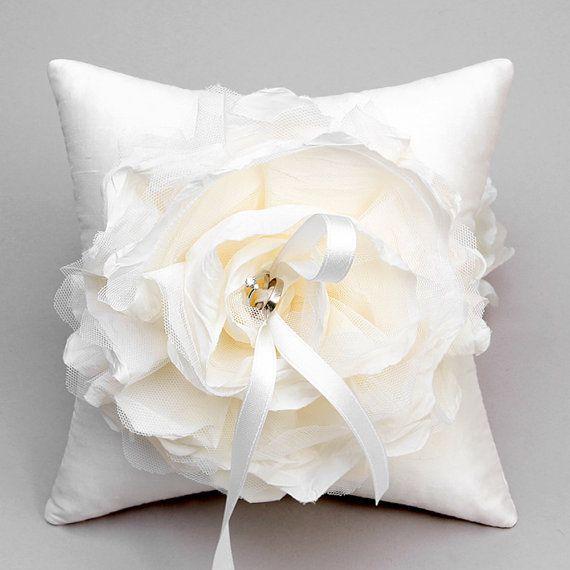 Ivory Flower Ring Pillow Wedding Bearer Bridal Holder Laurel
