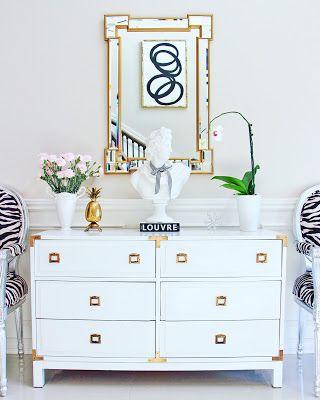 Foyer design, campaign dresser, Hollywood Regency style, AM Dolce Vita
