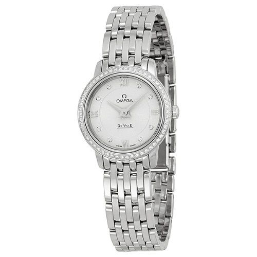 Omega DeVille Prestige Silver Diamond Dial Stainless Steel Ladies Watch -- Detai...