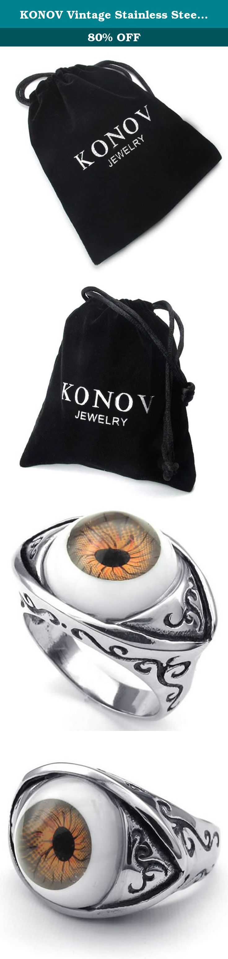 KONOV Vintage Stainless Steel Evil Devil Eye Band Biker Mens Ring, Brown Silver - Size 12. Why choose Stainless Steel Jewelry? Stainless Steel jewelry does not tarnish and oxidize, which can last longer than other jewelries. It is able to endure a lot of wear and tear. And it is amazingly hypoallergenic. Such advantages make it a more popular accessory. Why need Stainless Steel Jewelry? High quality stainless steel has high resistance to rust, corrosion and tarnishing, which requires…