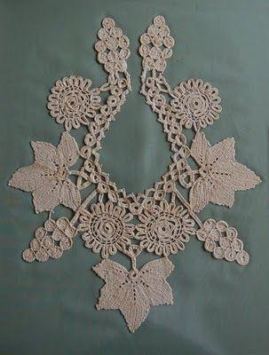 Crafty jewelry: Grape and Leaf motif collar, free crochet pattern