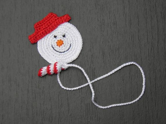 Crochet Bookmark  Crochet Snowman  Gifts  Present by ElenaGift
