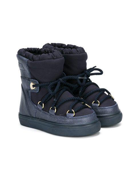 Shop Moncler Kids lace-up snow boots  1dd90a8c19e