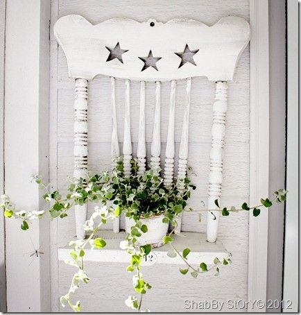 @Kathy Chan Brady --this would be cute on your porch :) Clever, repurpose an old chair into a shelf. Love this idea!