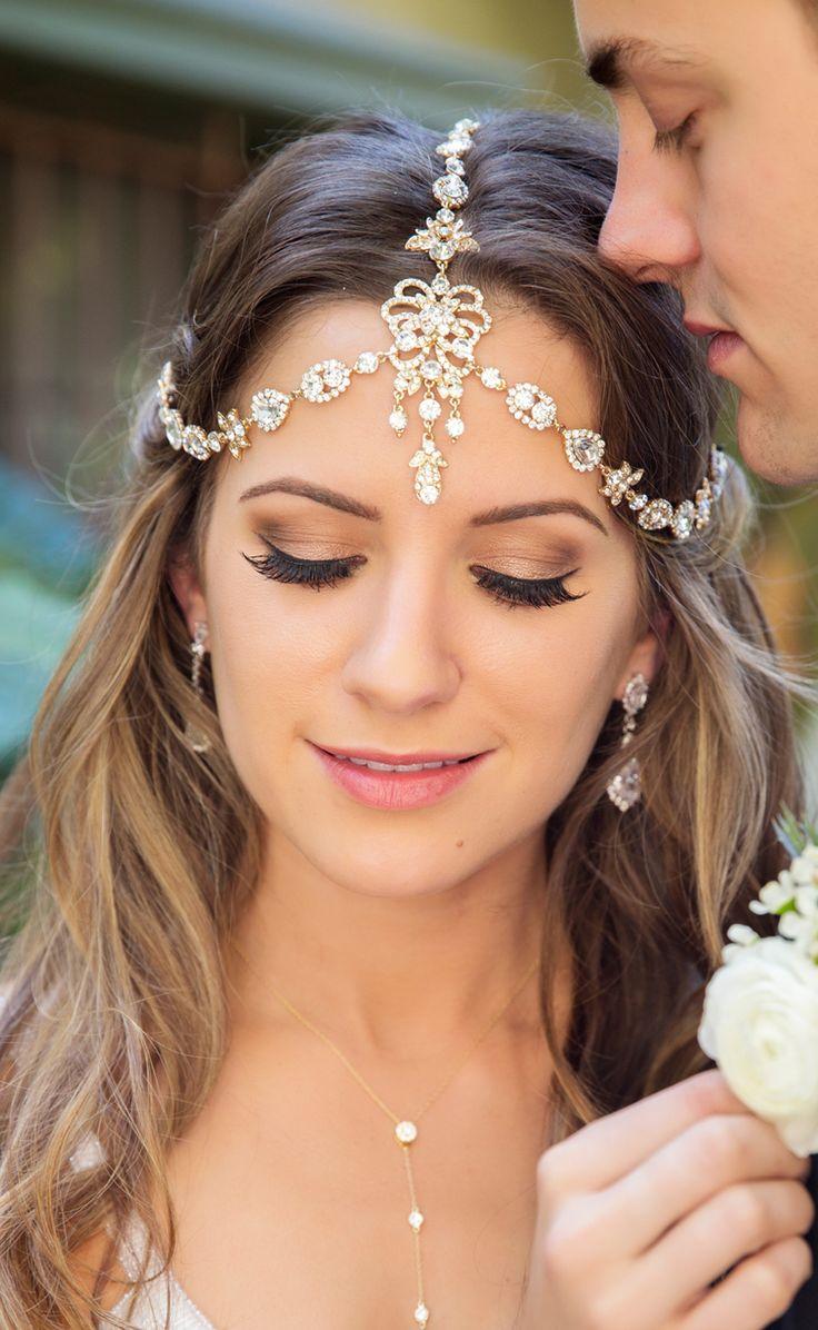 Gold Bridal Headpiece Swarovski Crystal Hair Accessories Wedding Headpiece Wedding Headband Bridal Hair Accessories Boho Wedding