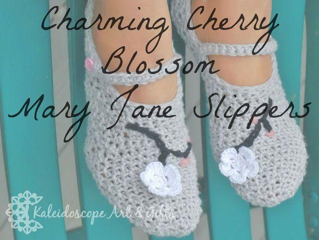 Charming Cherry Blossom Mary Jane Slippers~free #crochet pattern by #KaleidoscopeArtnGifts. #handmade