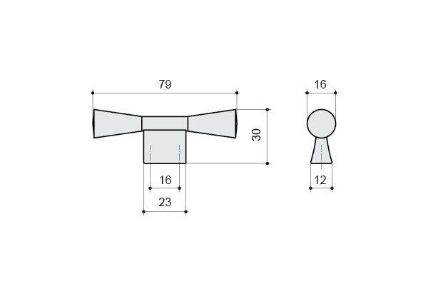Ручка-кнопка 16мм, отделка черная бронза - Макмарт