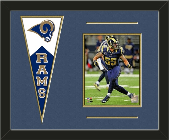 One framed 8 x 10 inch St. Louis Rams photo of James Laurinaitis with a St. Louis Rams mini felt banner, double matted in team colors to 20 x 16 inches.  The lines show the bottom mat color.  (Pennant design subject to change)  $79.99 @ ArtandMore.com