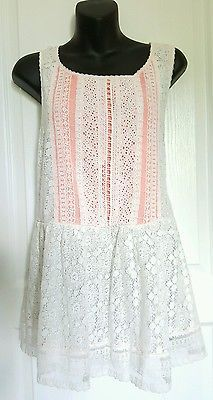 Anthropologie One September Coralline White Lace Peplum sleeveless top L Large