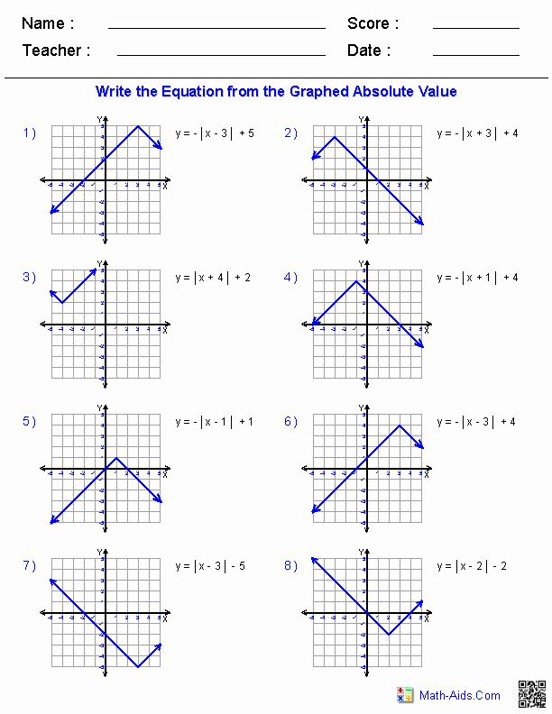50 Graphing Absolute Value Equations Worksheet In 2020 With