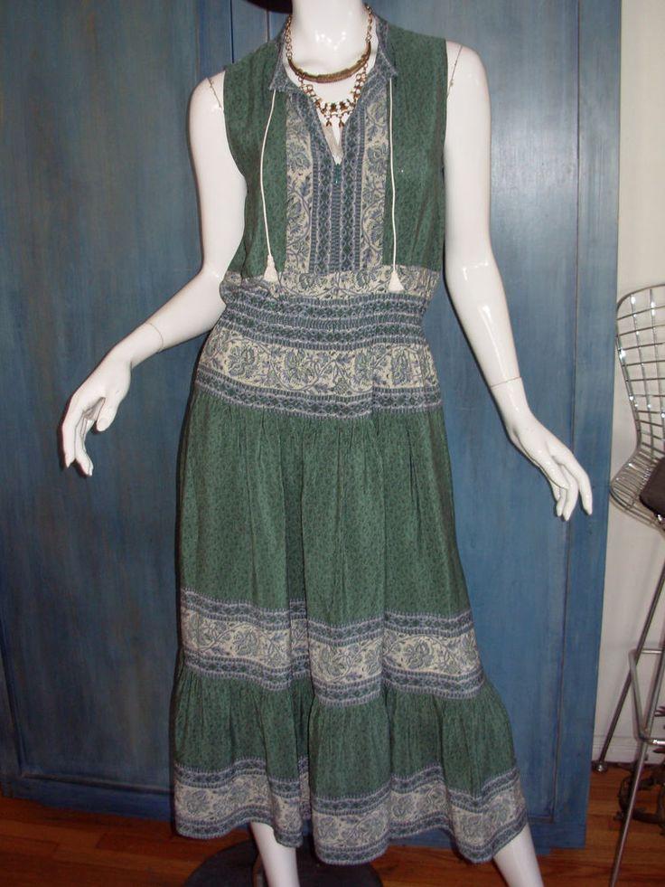 SEA NY Seafoam SILK Whimsical FLORAL Print Gypset BOHO PEASANT Midi TEA Dress M #SeaNewYork #PeasantDress #Casual
