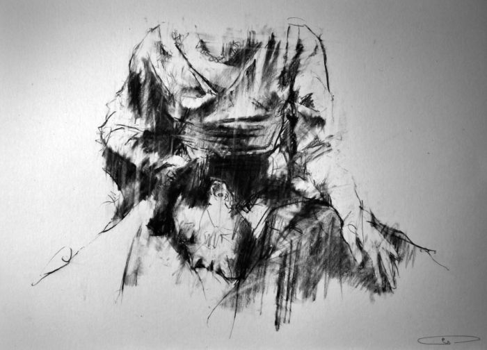 Feel my breath - slipping out by Guy Denning Conte on paper I love the tonal range the artist uses, and also the strong emotion both the tone and the title give to the piece, the simplistic composition meaning that the viewer gets the full intensity of the focus.