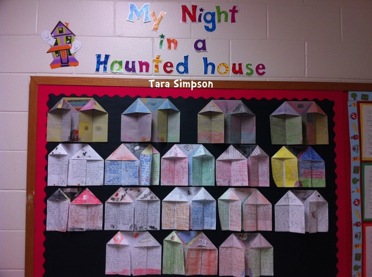My Night in a Haunted House  Halloween Writing Bulletin Board!!  Foldable houses!