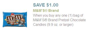 Are you enjoying planning your CVS trip for Sunday with today's new printable coupons? I hope so, because next up we have… $1.00 Pretzel M&Ms! Here's how:      8-14 oz M&Ms will be on sale 2/$6.00 — this starts Sunday 5/4.     Scan your card at the magic machine to get a $2.00/2 CVS coupon.     Stack with two of these $1.00/1 bag pretzel M&Ms 9 oz+.     Now you are at 2/$2.00 after both coupons, or just a buck each!