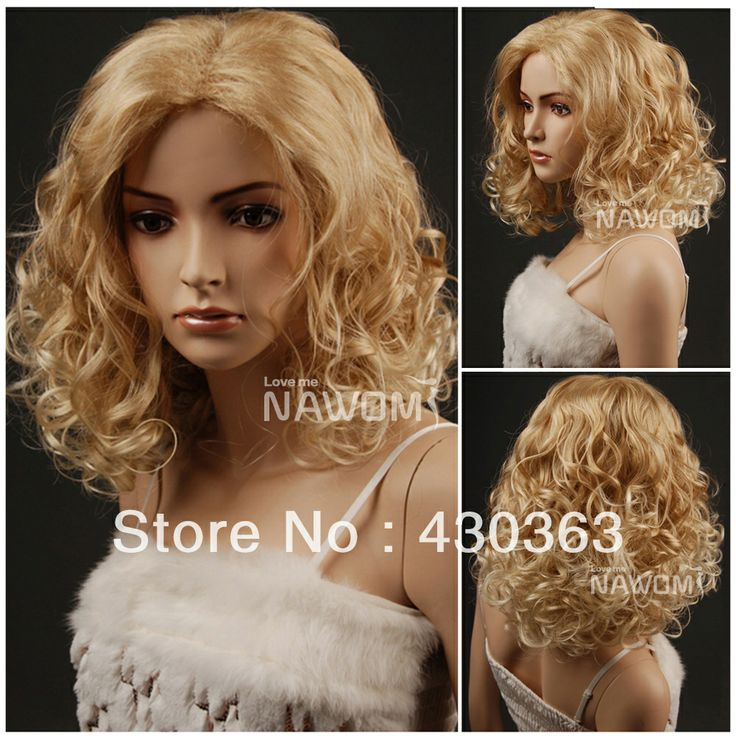 Fashion sexy pear flower style women wig hot selling short blonde curly wig natural vivid cheap none lace wig free shipping