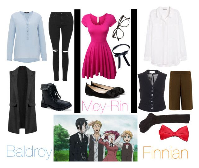"""Servants of Phantomhive (Baldroy, Mey-Rin & Finnian) - Black Butler"" by lottie554 ❤ liked on Polyvore featuring Valfré, Hallhuber, Topshop, Aéropostale, MANGO, LE3NO, Illesteva, H&M, Boohoo and Maria La Rosa"