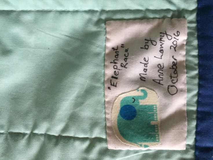 Label for elephant quilt