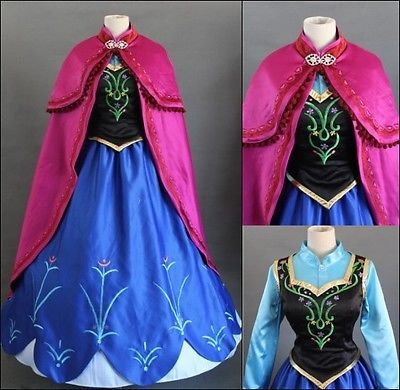 Disney Movie Frozen Anna Dress Made Cosplay Costume for Adult and Children | eBay