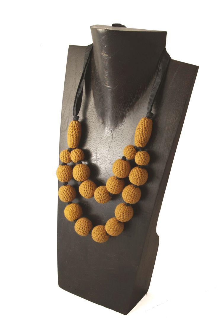 Crochet mustard necklace. www.indigoheart.com.au