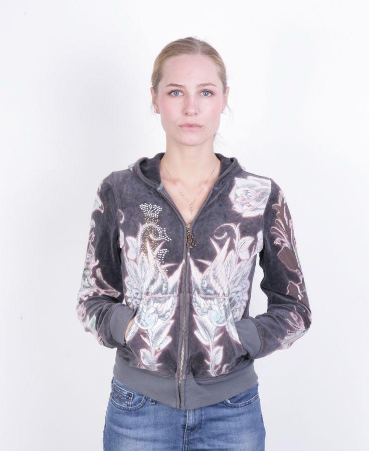 Christian Audigier Women's S Sweatshirt Full Zipper Fleece Top Hoodie
