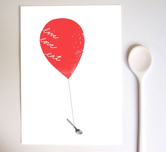 Art for Kitchen Red Balloon Live Love Eat / high quality by anek, $30.00