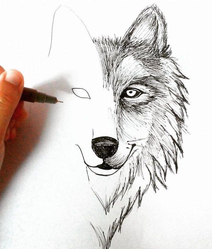 1001 Astuces D Artiste Pour Apprendre A Realiser Un Dessin De Loup Tete De Loup Dessin Dessin De Loup Comment Dessiner Un Loup