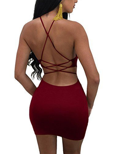 Misfondle Womens Sexy Bodycon Backless Spaghetti Lace up Mini Club Dress, 1-red, Small