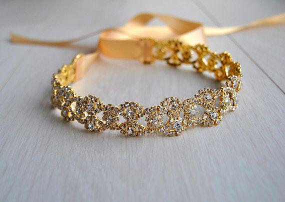 Gouden Strass Bridal hoofdband Great Gatsby door BlueSkyHorizons