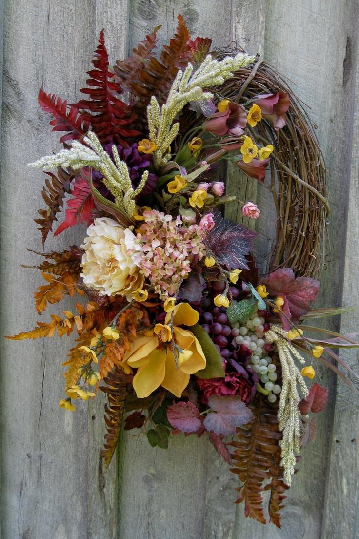 Floral Wreath Designer Wreath Tuscany Ferns by NewEnglandWreath