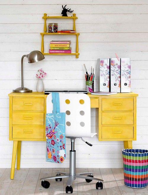 sunny yellow desk