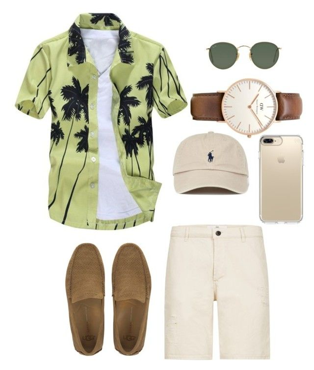 """Beach Fashion Men"" by saffaatun on Polyvore featuring Topman, UGG, Daniel Wellington, Ray-Ban, Speck, men's fashion and menswear"