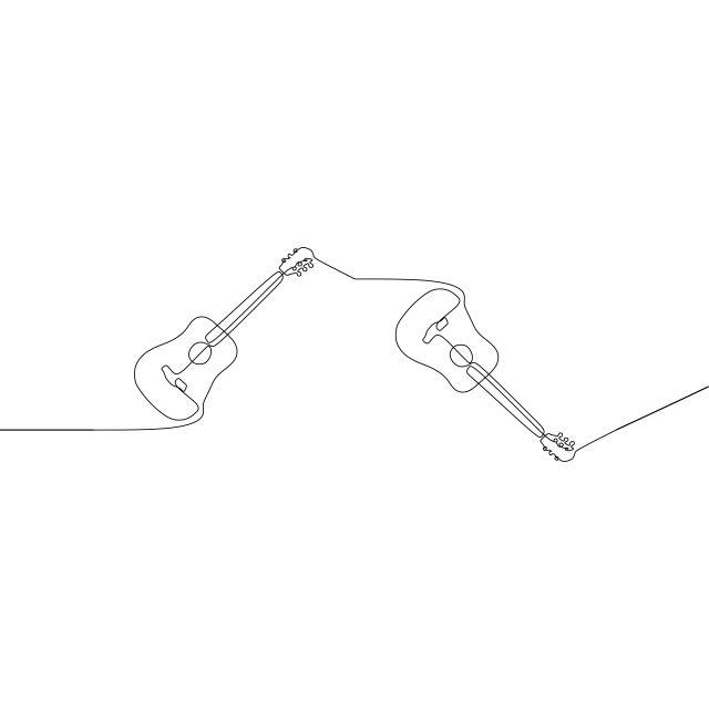 الغيتار الكهربائي المستمر خط واحد صورة ظلية ناقلات رسم مرسومة باليد البيانو الصوتية المرسومة رسم الآلات الموسيقية البيانو الكبير في أضيق الحدود كفاف التوضيح عزل How To Draw Hands Art Painting
