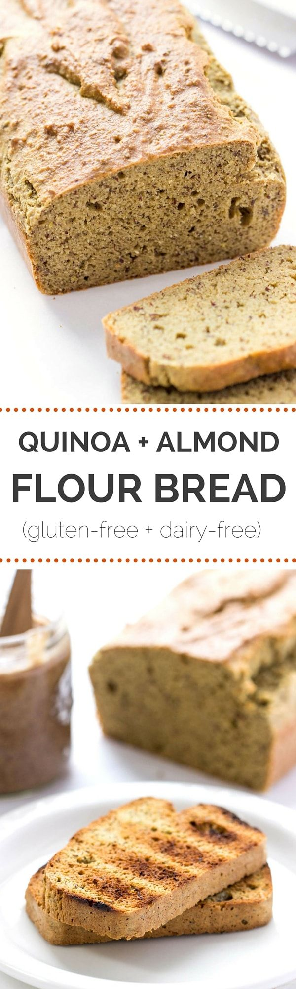 The EASIEST gluten-free bread you'll ever make -- a quinoa almond flour bread uses no yeast, bakes in 30 minutes, is made in one bowl AND it tastes amazing!