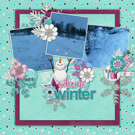 ** 2 $ Tuesdays for Connie Prince ** Grab the kit for just $2  and $1 per extra pack, today only. Created with First Snow template, kit and packs. Kit http://store.gingerscraps.net/First-Snow-Kit.html  Template http://store.gingerscraps.net/First-Snow-12x12-Templates-CU-OK.html