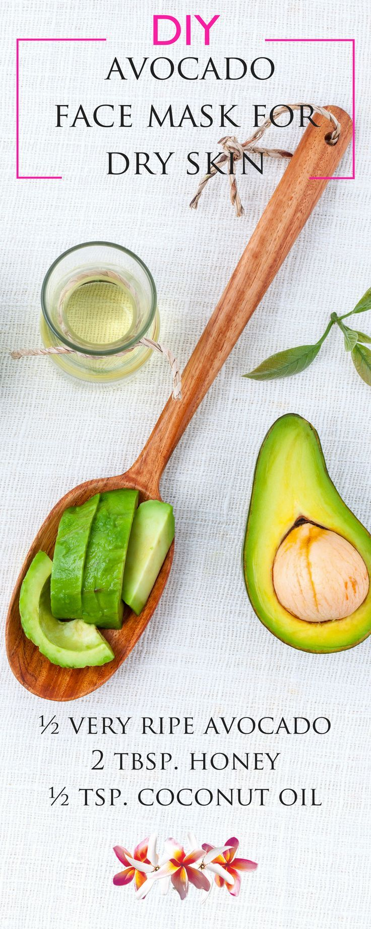 Directions: Mash or puree the avocado until it's smooth and creamy, then blend in the rest of the ingredients. Apply to your face, avoiding your eyes, and leave on for 10-15 minutes.Wipe your face clean with a damp cloth and rinse your face with warm water. Click here for more DIY Beauty Recipes http://www.purefiji.com/blog/diy-home-spa/