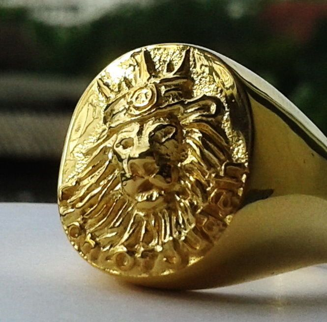 Awesome Gold Ring Lion Of Judah Rastafari Ethiopia Africa